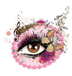 eye with floral and music notes vector image