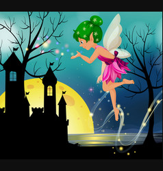 Fairy flying around castle at nighttime vector