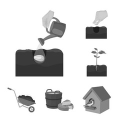 farm and agriculture monochrome icons in set vector image