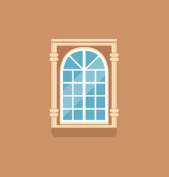 flat classical arched window with decorated facade vector image