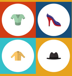Flat icon clothes set of banyan heeled shoe vector