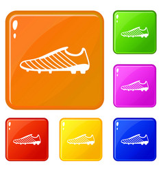 Football boots icons set color vector
