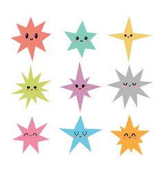 funny happy smiley stars in kawaii style cute vector image