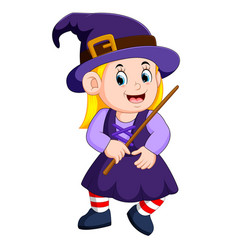girl witch with a magic wand vector image