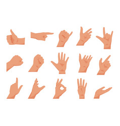 hand gestures flat collections arms showing vector image