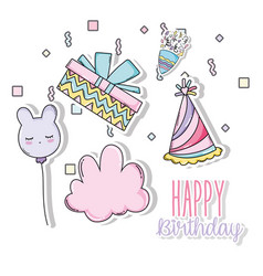 Happy birthday with present and hat decoration vector
