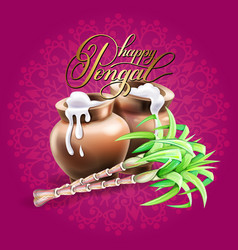happy pongal greeting card to south indian winter vector image