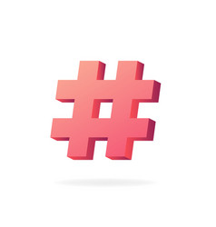 Hashtag 3d trending red symbol tag blog vector