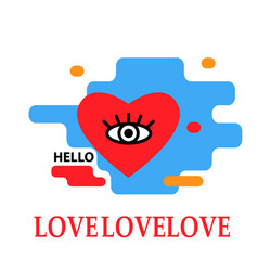 heart icon with eye trendy modern concept vector image