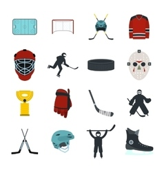 Hockey flat icons set vector