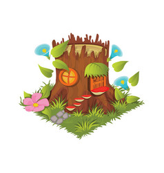 isometric cartoon fantasy tree stump village vector image