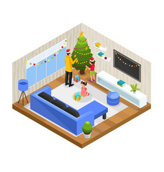 isometric winter family holiday concept vector image