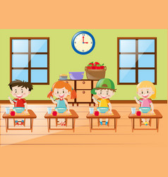 Kids eating breakfast together vector
