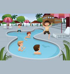 Kids playing in an outdoor swimming pool vector