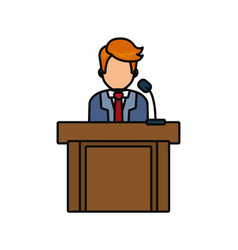 Lawyer speaking in court icon vector