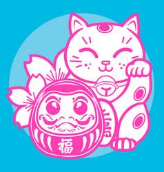 Lucky cat maneki neko japan 03 vector