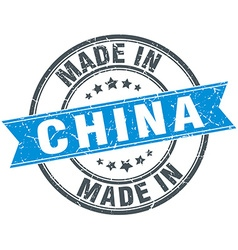 made in China blue round vintage stamp vector image