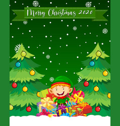 merry christmas 2020 font logo with cute elf vector image