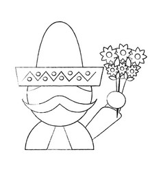 Mexican man with hat and mustache holding bunch vector