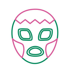Mexican mask fighter line style icon vector