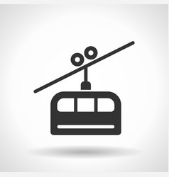 monochromatic cable railway icon with hovering vector image