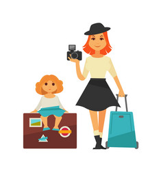 mother and daughter go for traveling isolated vector image