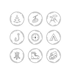Mountain fishing hook and hiking boots icons vector