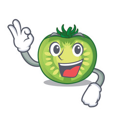 Okay green tomato slices on character plates vector