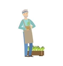 Old Man Showing His Gardening Hobby vector image