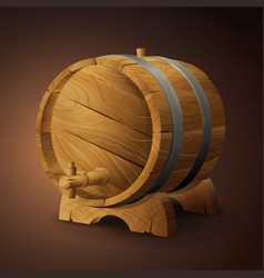 old wooden barrel on rack with wood stopcock front vector image
