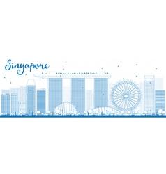 Outline singapore skyline with blue landmarks vector