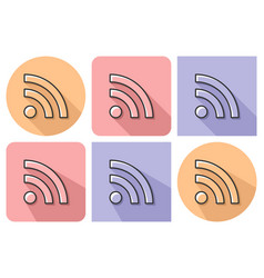 outlined icon of rss sign with parallel and not vector image