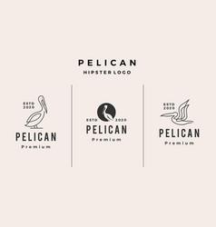 pelican logo icon hipster retro vintage vector image
