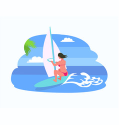 Person on board wearing swimsuit surforboarder vector