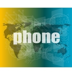 phone word on digital touch screen business vector image