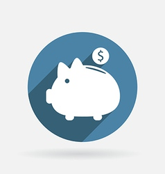piggy bank Circle blue icon with shadow vector image