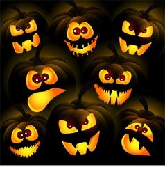 Pumpkins on a dark background vector