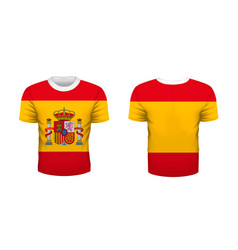 realistic sport t-shirt with spain flag from front vector image
