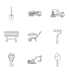 Repair tools icons set outline style vector image