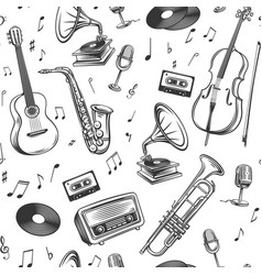 retro musical instruments symbol vector image