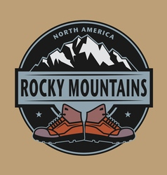 Rocky mountains emblem vector