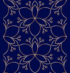 seamless linear golden flower pattern on blue vector image