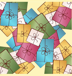 seamless pattern with colorful gift boxes pattern vector image