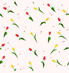 seamless pattern with flowers tulips vector image