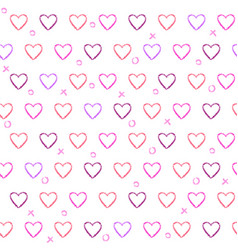 seamless pattern with pencil drawn hearts vector image