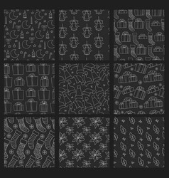 set black christmas and new year seamless vector image