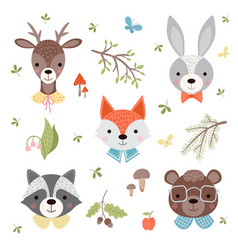 set of cute woodland animals vector image