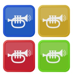 Set of four square icons with trumpet vector