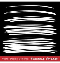 Set of White Hand Drawn Scribble Smears vector image