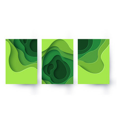 Set three eco abstract green paper cut banners vector